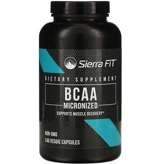 Sierra Fit, микронизированные BCAA, аминокислоты с разветвленной цепью, 500мг, 240растительных капсул