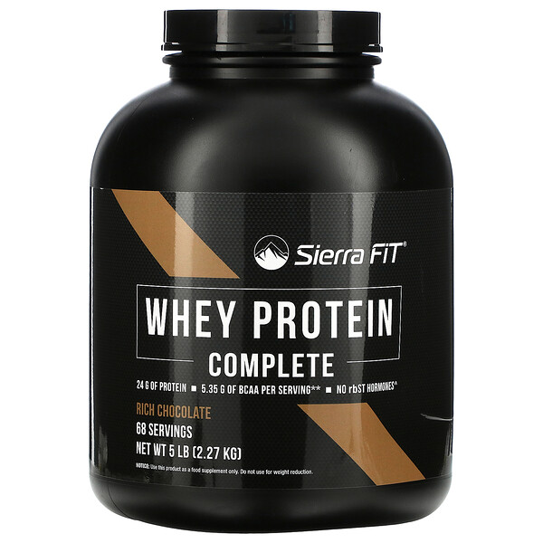 Proteína de suero de leche completa, Chocolate delicioso, 2,27kg (5lb)