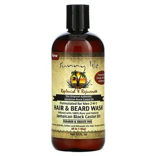 Sunny Isle, Men 2-N-1 Hair & Beard Wash with Jamaican Black Castor Oil, 12 fl oz
