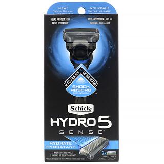 Schick, Hydro 5 Sense, Hydrate, 1 Razor, 2 Cartridges