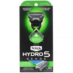 Schick, 水次元全能 5 超感系列,敏感肌膚系列剃鬚刀,1 個剃刀,2 支裝