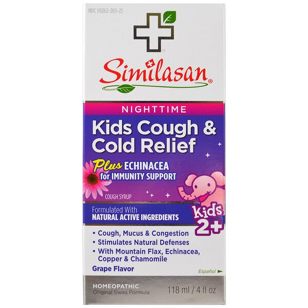 Kids Cough & Cold Relief, Nighttime, Kids 2+, Grape Flavor, 4 fl oz (118 ml)