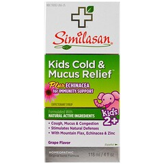 Similasan, 兒童著涼咳嗽舒緩液,2 歲以上兒童,葡萄味,4 液量盎司(118 毫升)