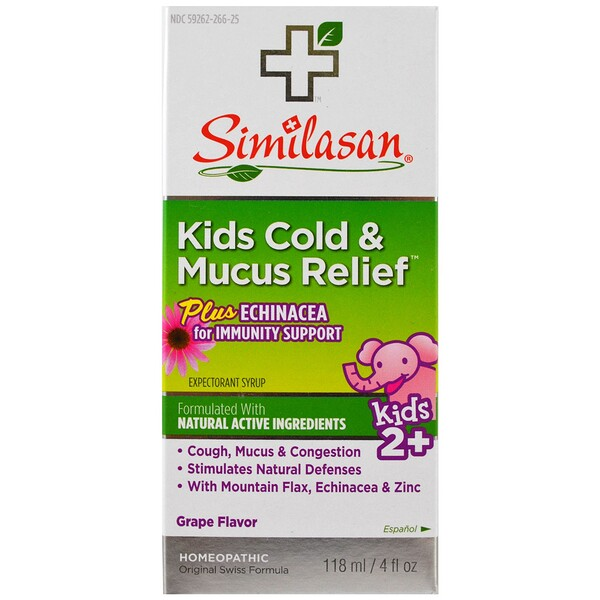 Kids Cold & Mucus Relief, with Echinacea, Grape, 4 fl oz (118 ml)