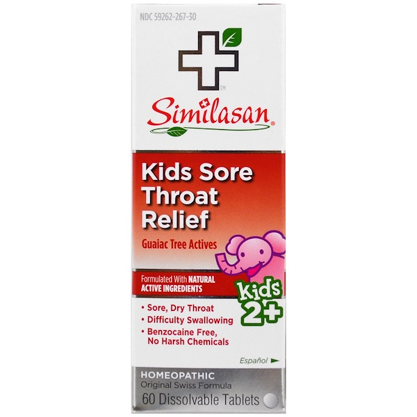 Similasan, Kids Sore Throat Relief, Guaiac Tree Actives, Kids 2+, 60 Dissolvable Tablets