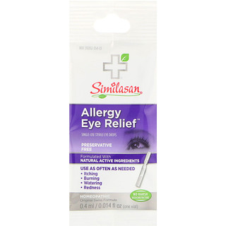 Similasan, Allergy Eye Relief, Single-Use Sterile Eye Drops, 0.014 fl oz (0.4 ml)