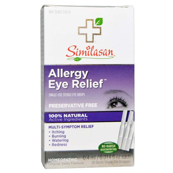 Allergy Eye Relief Eye Drops, 20 Sterile Single-Use Droppers, 0.014 fl oz (0.4 ml) Each