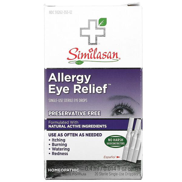Allergy Eye Relief Eye Drops, 20 Sterile Single-Use Droppers, 0.014 fl oz (0.4 ml) Each