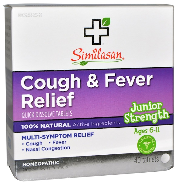 Similasan, Cough & Fever Relief, Junior Strength, 40 Quick Dissolve Tablets (Discontinued Item)