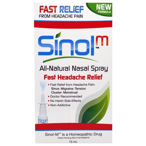 Sinol, SinolM, All-Natural Nasal Spray, Fast Headache Relief, 15 ml