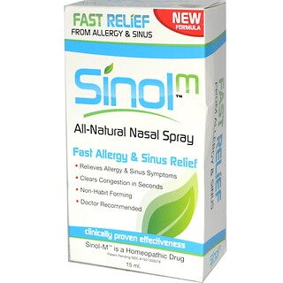 Sinol, All Natural Nasal Spray, Fast Allergy & Sinus Relief, 15 ml