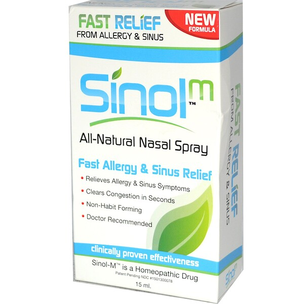 SinolM, All-Natural Nasal Spray, Fast Allergy & Sinus Relief, 15 ml