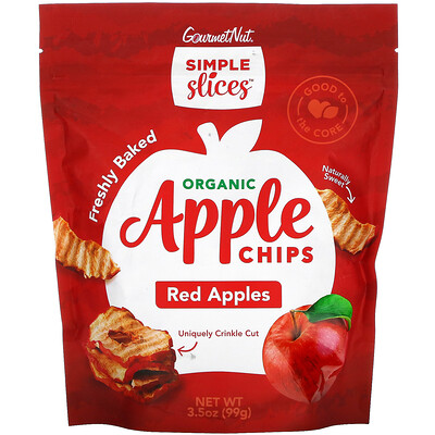 Simple Slices Organic Apple Chips, Red Apples, 3.5 oz (99 g)