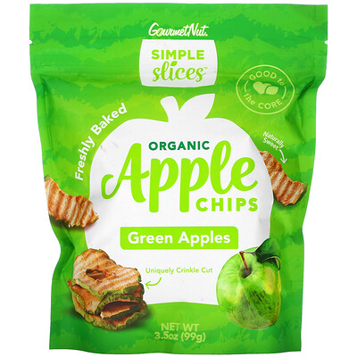 Simple Slices Organic Apple Chips, Green Apples, 3.5 oz (99 g)