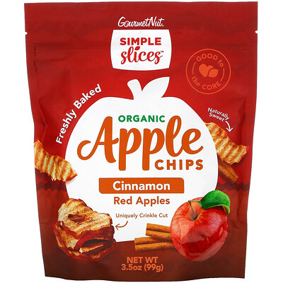 Simple Slices Organic Apple Chips, Cinnamon Red Apples, 3.5 oz (99 g)