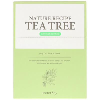 Secret Key Nature Recipe Mask Pack, Tea Tree, 10 Masks, 0.7 oz (20 g) Each