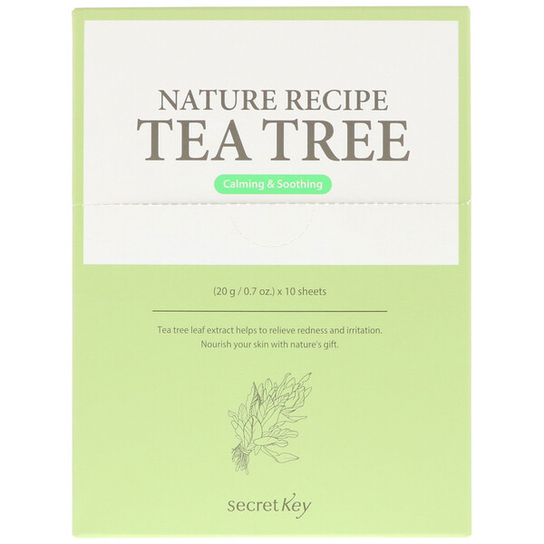 Secret Key, Nature Recipe Mask Pack, Tea Tree, 10 Masks, 0.7 oz (20 g) Each