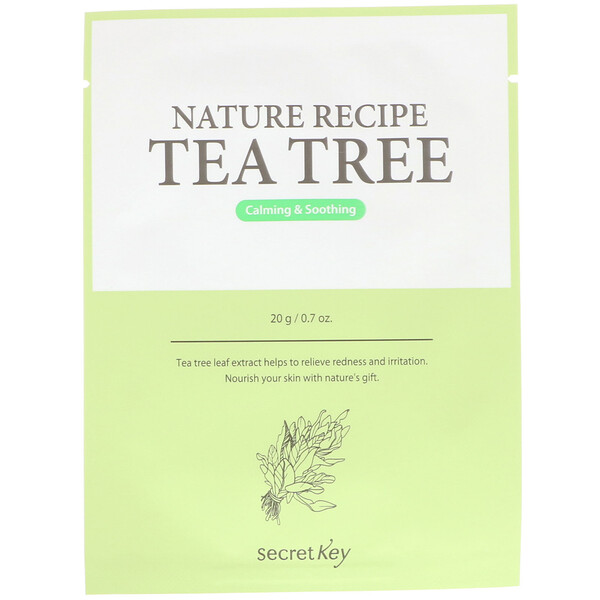 Secret Key, Nature Recipe Mask Pack, Tea Tree, 10 Sheets, 0.7 oz (20 g) Each (Discontinued Item)