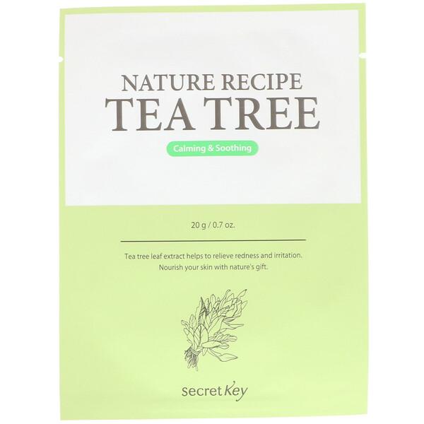 Secret Key, Nature Recipe Mask Pack, Tea Tree, 10 Sheets, 0.7 oz (20 g) Each