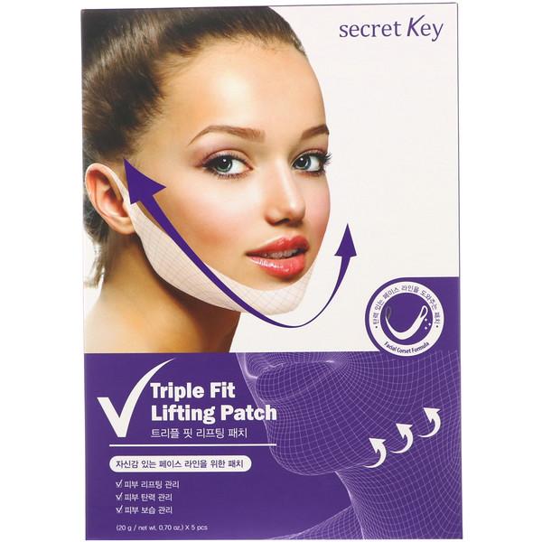 Secret Key, Adesivo para Lifting Triple Fit, 5 Adesivos, 0,70 oz (20 g) Cada