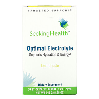 Seeking Health, Optimal Electrolyte, Lemonade, 30 Stick Packs, 0.29 oz (8.18 g) Each