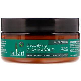 Sukin, スーパーグリーンズ、解毒作用のあるクレイマスク、3.38液量オンス(100 ml)