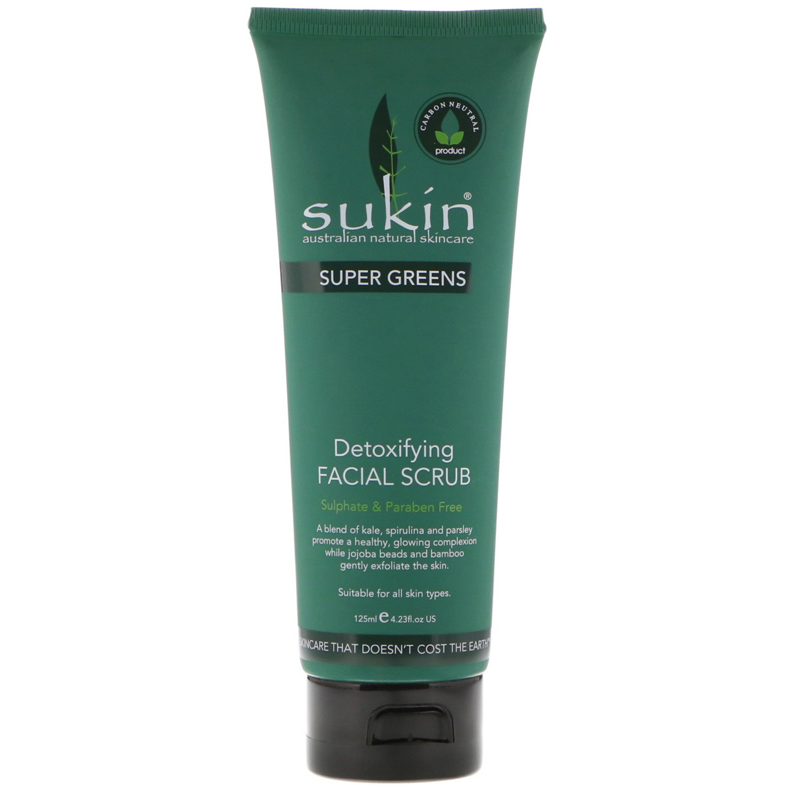 Sukin, Super Greens, Detoxifying Facial Scrub, 4.23 fl oz (125 ml)