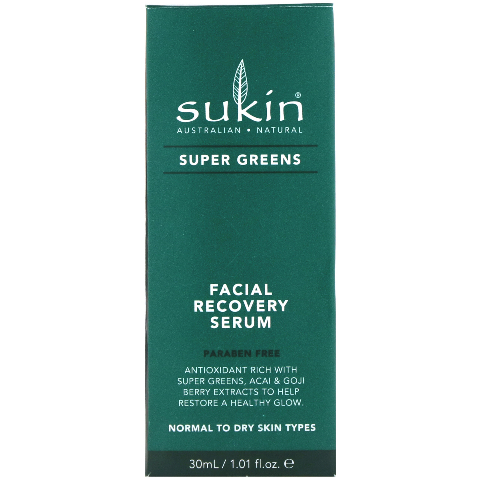Sukin, Super Greens, Facial Recovery Serum, 1.01 fl oz (30 ml)