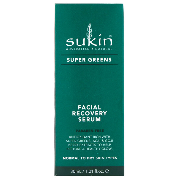 Sukin, Super Greens, suero de recuperación facial, 1.01 fl oz (30 ml)