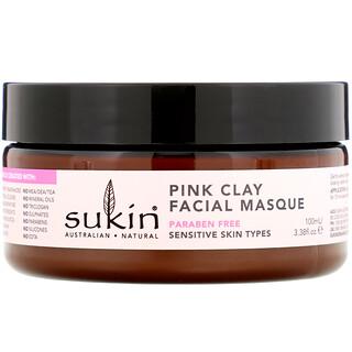 Sukin, Mascarilla facial de arcilla rosa, Pieles sensibles, 100ml (3,38oz.líq.)