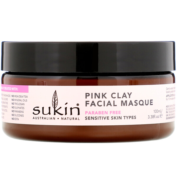 Sukin, Pink Clay Facial Masque, 민감성, 100ml(3.38fl oz)