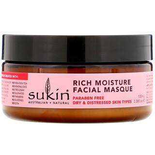 Sukin, Rich Moisture Facial Masque, Rosehip, 3.38 fl oz (100 ml)