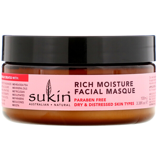 Sukin, Rich Moisture Facial Masque, Rosehip, 3.38 fl oz (100 ml)