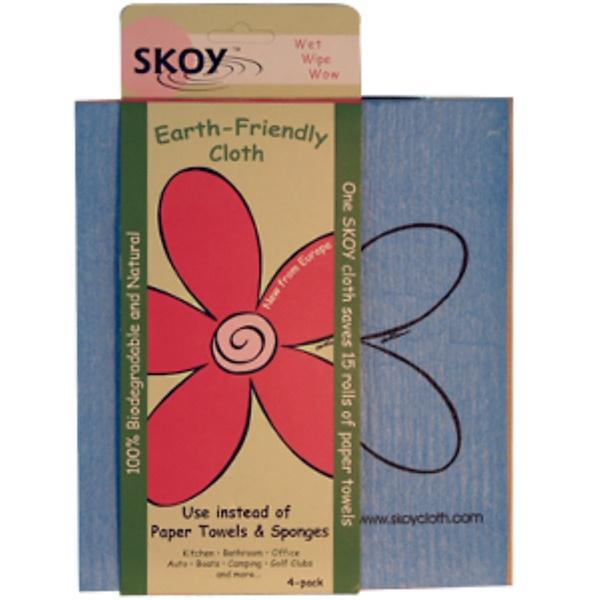 Skoy Enterprises, Салфетка для влажной уборки, набор из 4-х штук разных цветов (Discontinued Item)
