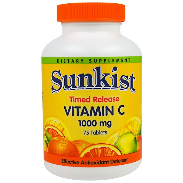 Sunkist, Vitamin C, Timed Release, 1000 mg, 75 Tablets