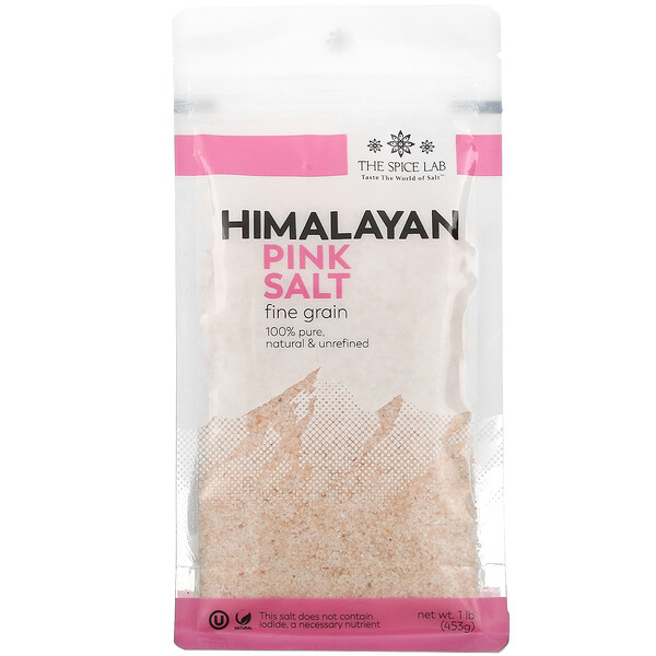The Spice Lab, Himalayan Pink Salt, Fine Grain, 1 lb (453 g)