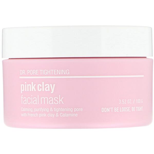 Skin & Lab, Dr. Pore Tightening, Pink Clay Facial Mask, 3.52 oz (100 g)
