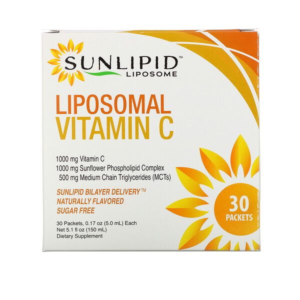 SunLipid, Vitamina C liposomal, Sabor natural, 30 sobres, 5,0 ml (0,17 oz) cada uno