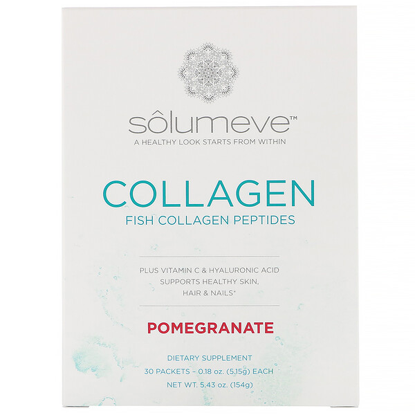 Solumeve, Collagen Peptides Plus Vitamin C & Hyaluronic Acid, Pomegranate, 30 Packets, 0.18 oz (5.15 g) Each