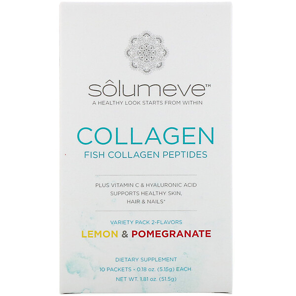 Solumeve, Collagen Peptides Plus Vitamin C & Hyaluronic Acid, Variety Pack, Lemon and Pomegranate, 10 Packets, 0.18 oz (5.15 g) Each