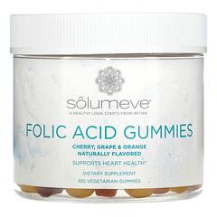 Solumeve, 엽산 구미 젤리, 젤라틴 없음, 다양한 맛, 100 식물성 구미 젤리