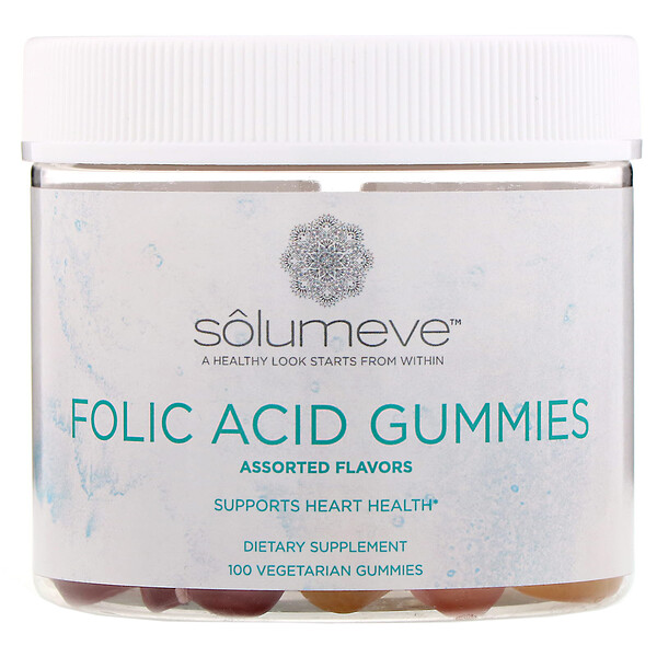 Folic Acid Gummies, Gelatin Free, Assorted Flavors, 100 Vegetarian Gummies