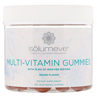 Solumeve, Gomas multivitamínicas, Sem gelatina, Sabor uva, 100 gomas vegetarianas