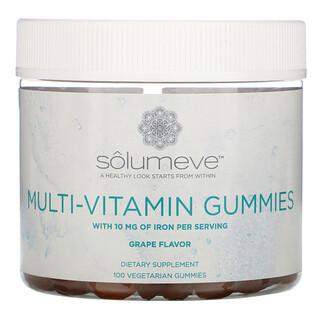 Solumeve, 複合維生素素食軟糖,不含明膠,葡萄味,100 粒