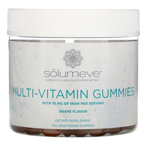 Solumeve, マルチビタミングミ、ゼラチンフリー、ブドウ風味、植物性グミ100粒