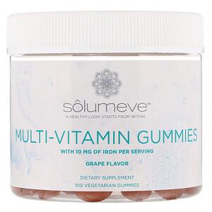 Solumeve, Multi-Vitamin Gummies, Gelatin Free, Grape Flavor, 100 Vegetarian Gummies
