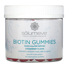 Solumeve, Gommes à la biotine, Sans gélatine, Arôme de fraise, 10000µg, 100gommes végétariennes