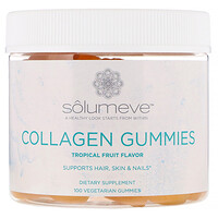 Solumeve, علكات الكولاجين، خالية من الجلاتين، نكهة الفواكه الاستوائية، 100 علكة نباتية
