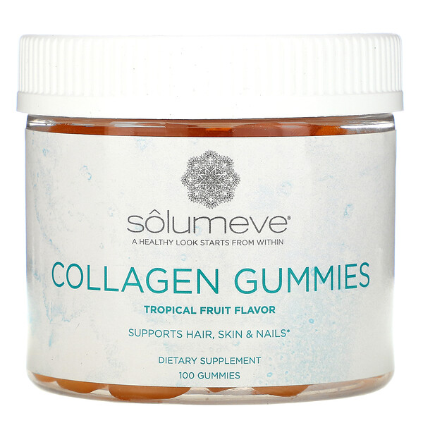 Solumeve, Collagen Gummies, Gelatin Free, Tropical Fruit Flavor, 100 Gummies