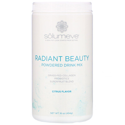 Купить Solumeve Radiant Beauty, порошковая смесь для напитков с экологически чистым коллагеном, пробиотиками и суперфруктами, цитрусовые, 454г (16унций)